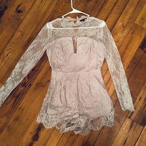 NWOT Fashion Nova Gray Lace Long Sleeve Romper